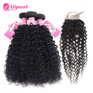 Ali Pearl Kinky Curly Hair 3 Bundles With 4*4 Lace Closure Soft Brazilian Hair