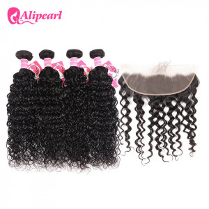 13x4 inch Frontal With 4pcs Natural Wave Ali Pearl Peruvian Hair