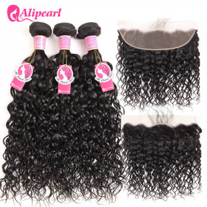 Ali Pearl Malaysian Virgin Hair 3 Bundles with 13*4 Lace Frontal Natural Wave