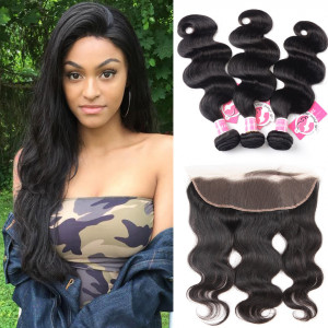 3pcs/packet Body Wave With 13*4 Lace Frontal Ali Pearl Peruvian Hair