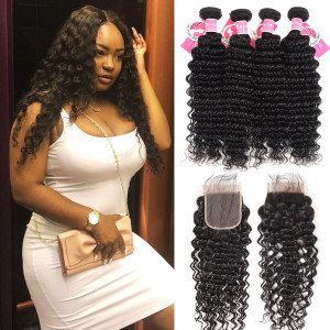 Deep Wave Hairstyles Brazilian Human Hair 4 Bundles With 4*4 Lace Closure