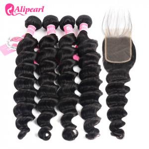 Ali Pearl Peruvian Human Hair 4pcs  Loose Deep Wave with Lace Closure