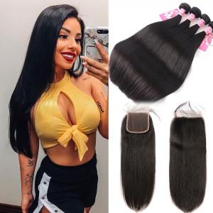 Ali Pearl Brazilian Hair 4pcs Straight with 4*4 Lace Closure