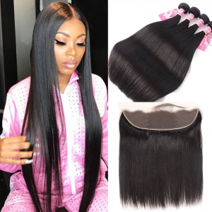 Straight 4 Bundles with 13*4 Lace Frontal Peruvian Human Hair